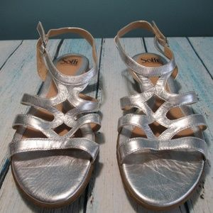 Sofft Silver Strappy Comfort Flat Leather Sandal